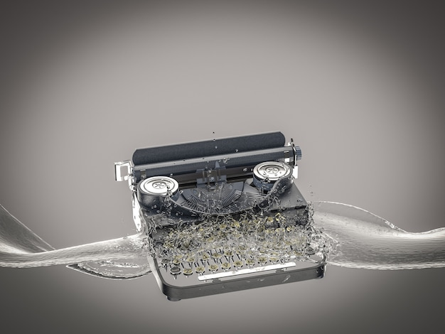 ヴィンテージタイプライターは水に落ち、水しぶきを作成します。