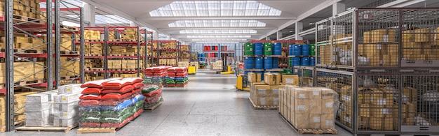 Интерьер складского склада с товарами разных видов.