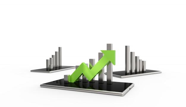 Зеленая стрелка и график на мобильном телефоне. растущая бизнес-концепция, изолированных на белом фоне.