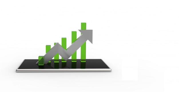 銀色の矢印と携帯電話の緑のグラフ