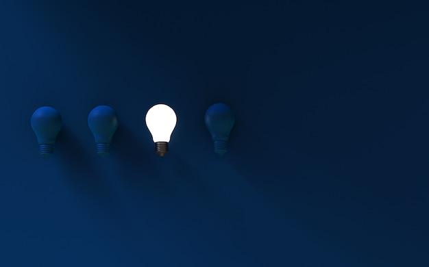 暗い青色の背景に電球