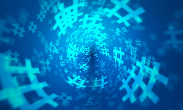 青いハッシュタグランダムデザインの背景。