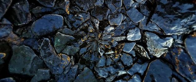 濡れた岩と石のテクスチャ背景。
