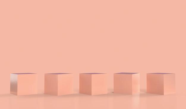 製品展示用の木製台座は、展示用のコピースペースと調和しています。