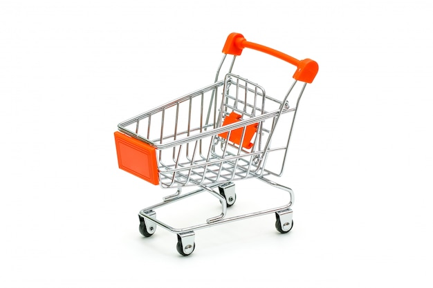 白の分離の赤いショッピングカート