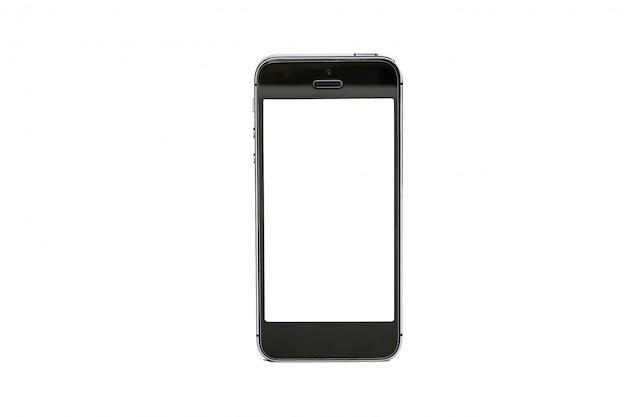 白で隔離される白い画面と黒のビジネス携帯電話