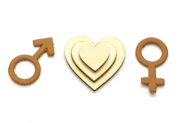 男性と女性のシンボルと木の心