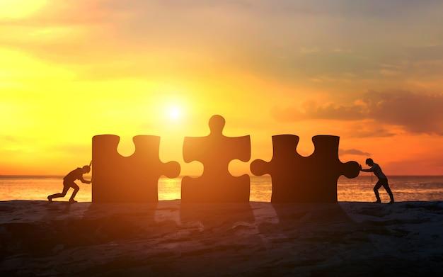 ジグソーパズルとチームワークのビジネスコンセプト。ビジネスの成功