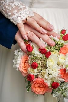 手と結婚指輪のリング