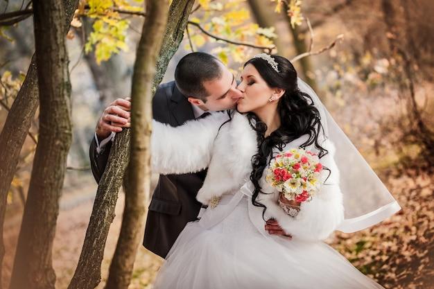 秋の公園で新郎新婦は黄色の葉が付いている木の近くを歩く