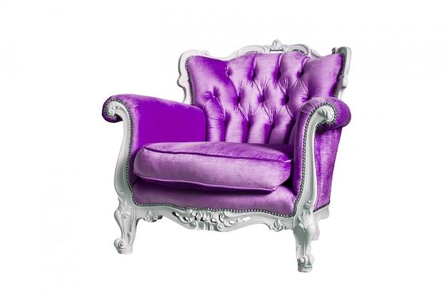 白で隔離される紫のアームチェア