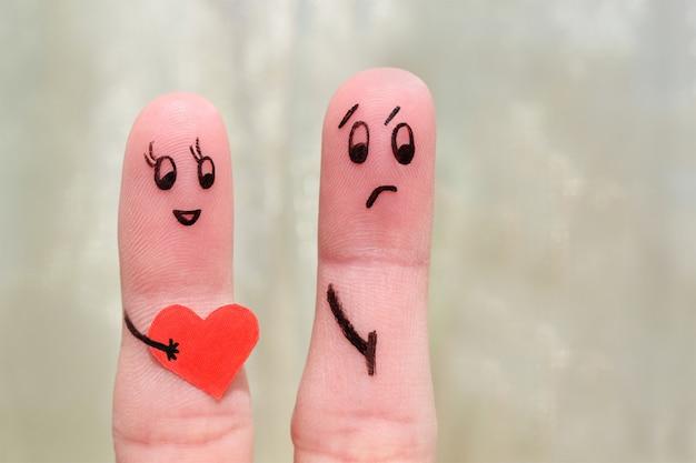 カップルの指アート。その概念は愛を共有するものではありません。