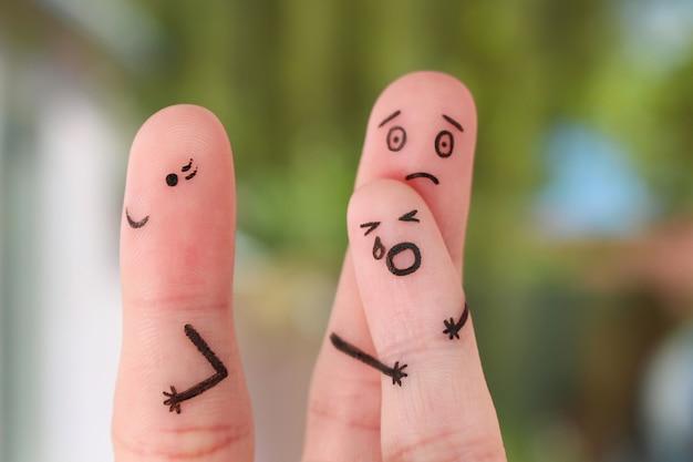 けんか中の家族の指芸術、子どもの概念は父と一緒に残っていました、母は外出するために残しました。