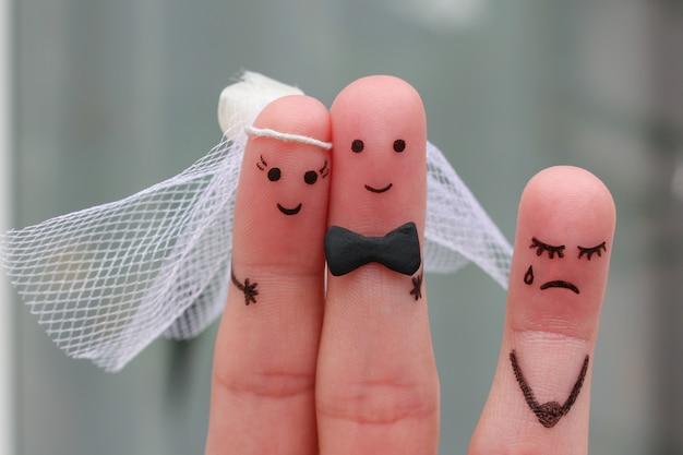 結婚する幸せなカップルの指アート。