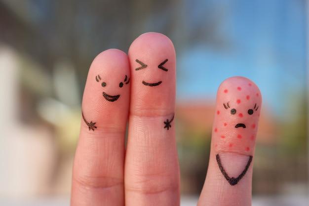 人の指アート。孤独の概念、群衆からの割り当て。