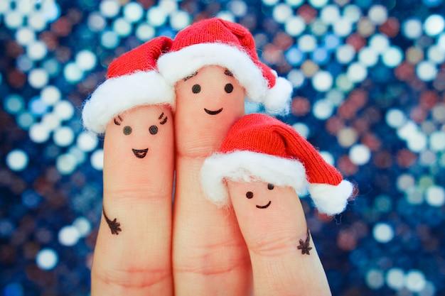 家族の指アートはクリスマスを祝います