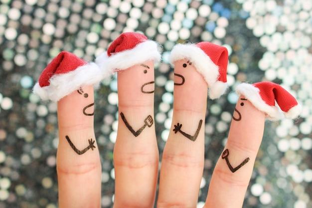 新年の中の人々の指アート。