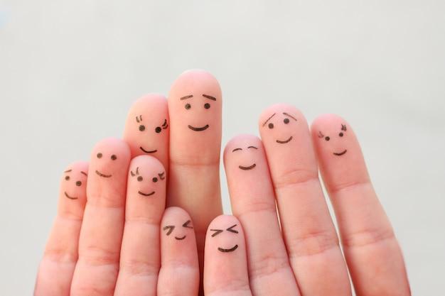 大家族の指アート。