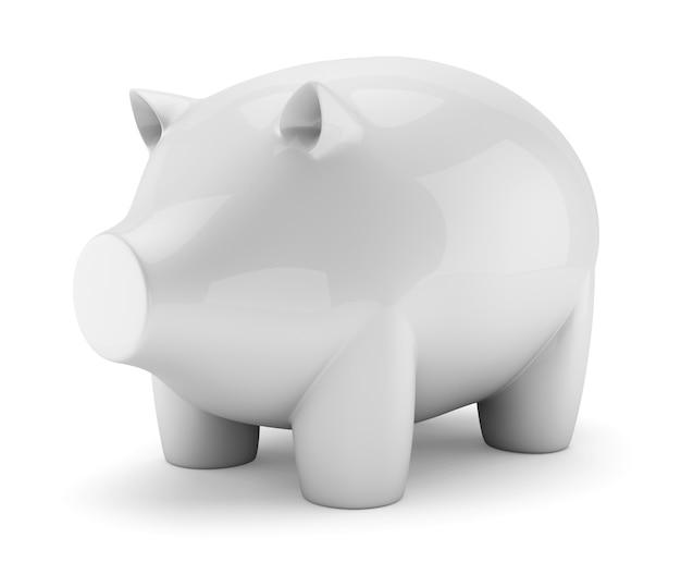 白で隔離される白いセラミック豚貯金箱