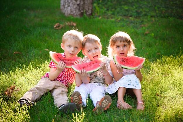 夏の公園で屋外スイカを食べる面白い子供たち。