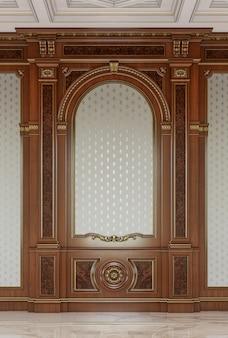 クラシックなスタイルの木彫りパネル。