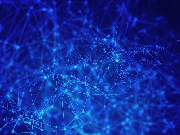 抽象的な低ポリ背景、デジタルネットワーク接続、現代の技術
