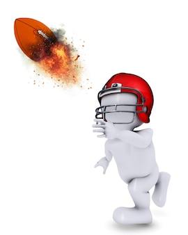 燃えるようなアメリカンフットボールを投げるモーフ男