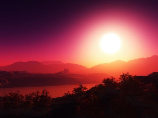 夕焼け空を背景に山脈