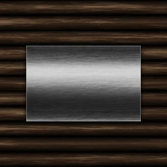 古い木製の背景にグランジ金属板