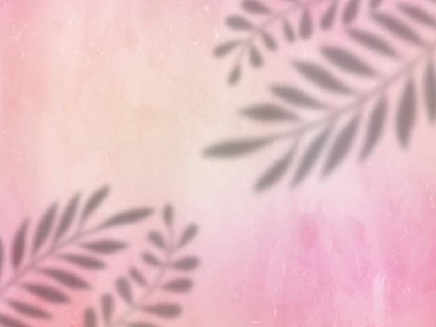 Тени листьев на розовой гранжевой текстуре
