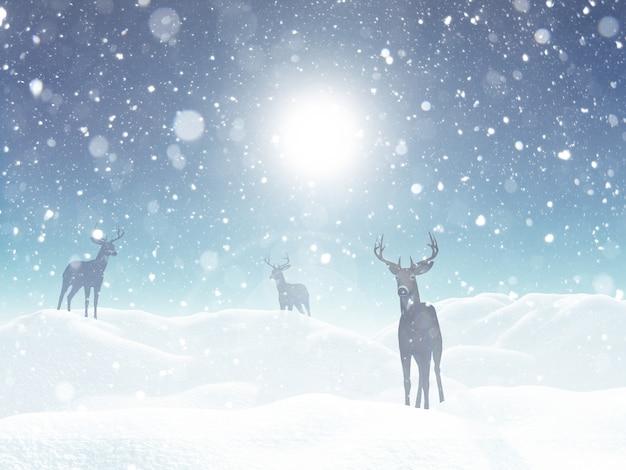 Зимний пейзаж с оленем в снегу
