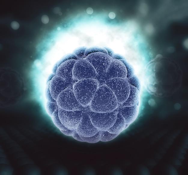 輝く抽象的なウイルス細胞