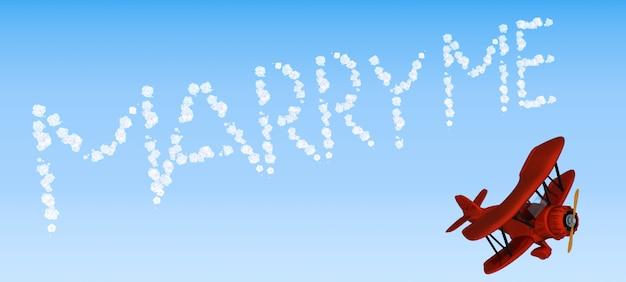 空にメッセージを書く複葉機の空「私と結婚」