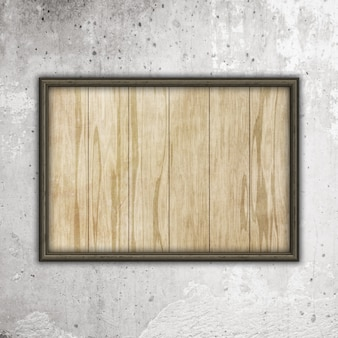 コンクリートの壁にウッドテクスチャと木製フレーム