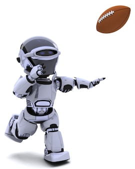 Робот играет в американский футбол