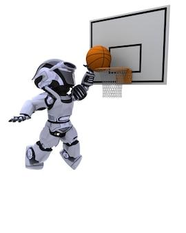ロボットがバスケットボールをする