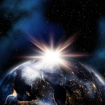 地球の夜景と抽象的な空間の背景