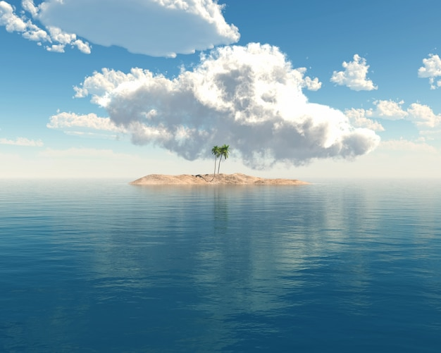 澄んだ青い海の熱帯の島