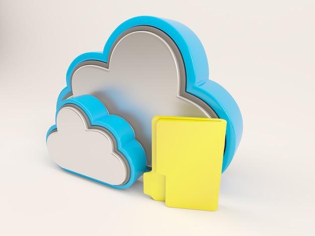 二つの雲と黄色のフォルダ