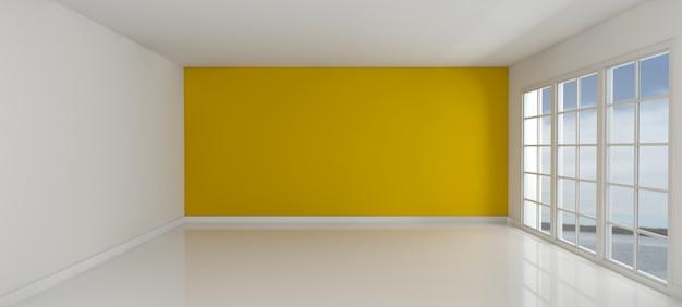 黄色の壁の部屋を持つ空
