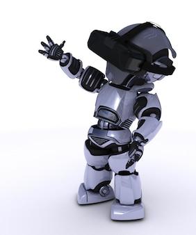 仮想現実メガネをかけてロボット