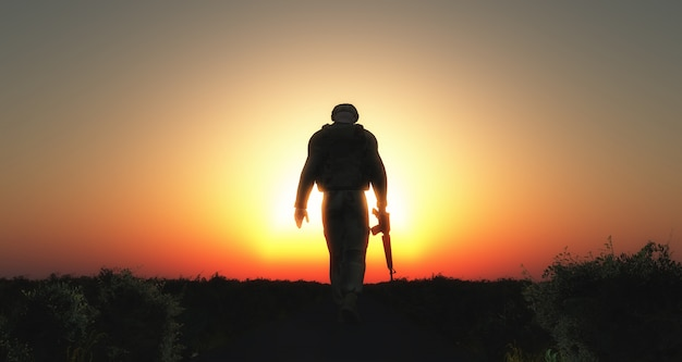 兵士の歩行シルエット