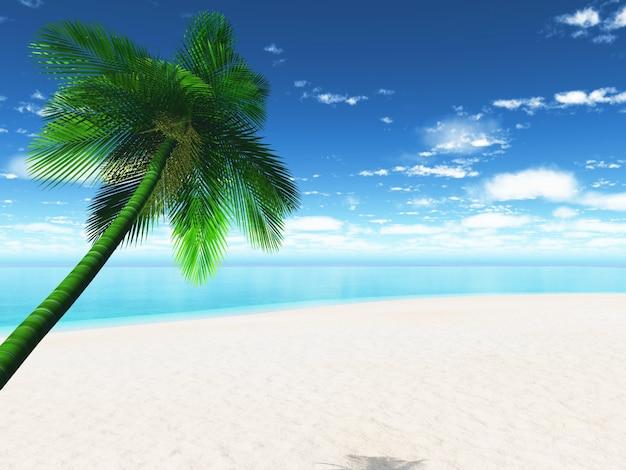 Рай пляж с пальмой