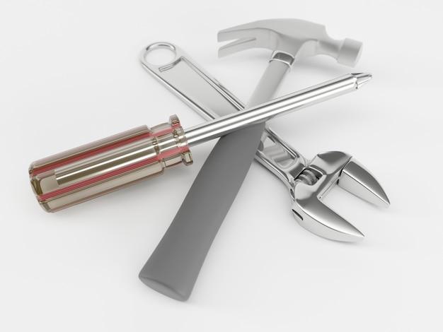 Гаечный ключ, отвертка и молоток