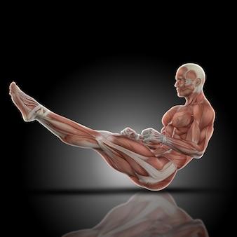 隆起した脚の筋肉男