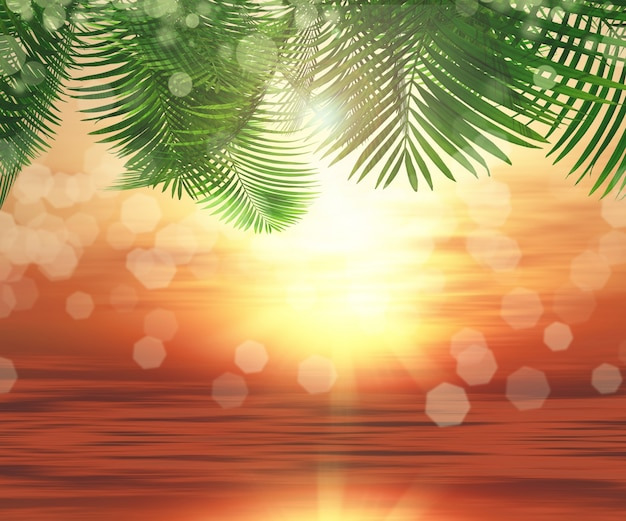 海の背景と椰子の木