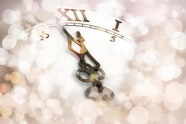 時計の文字盤と幸せな新年の背景