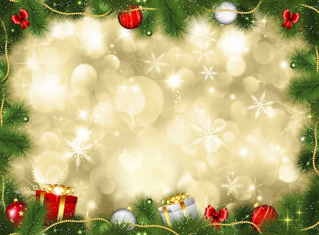 Рождественский фон с подарками и блесна