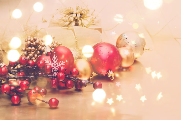 Декоративные рождественские фон с боке огни