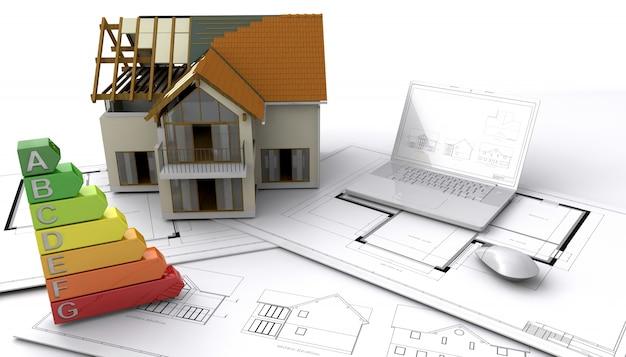 Современный стиль дома в стадии строительства
